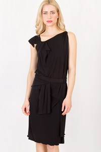 RM by Roland Mouret Black Straight Dress with Belt / Size: 10 US - Fit: Medium