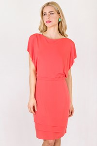 Paola Rossini Coral Pink Sleeveless Dress / Size: 46 IT - Fit: S