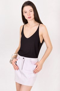 Alexander Wang Off White Skirt with Pink Leather Details / Size: 27 - Fit: XS
