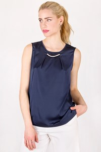 Fabiana Filippi Blue Satin-Like Top with Chain / Size: 44 IT - Fit: S