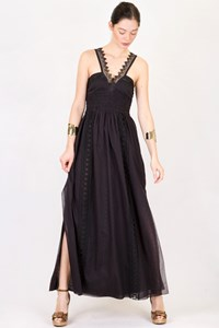 Charo Ruiz Black Long Dress with Lace Details / Size: S - Fit: XS