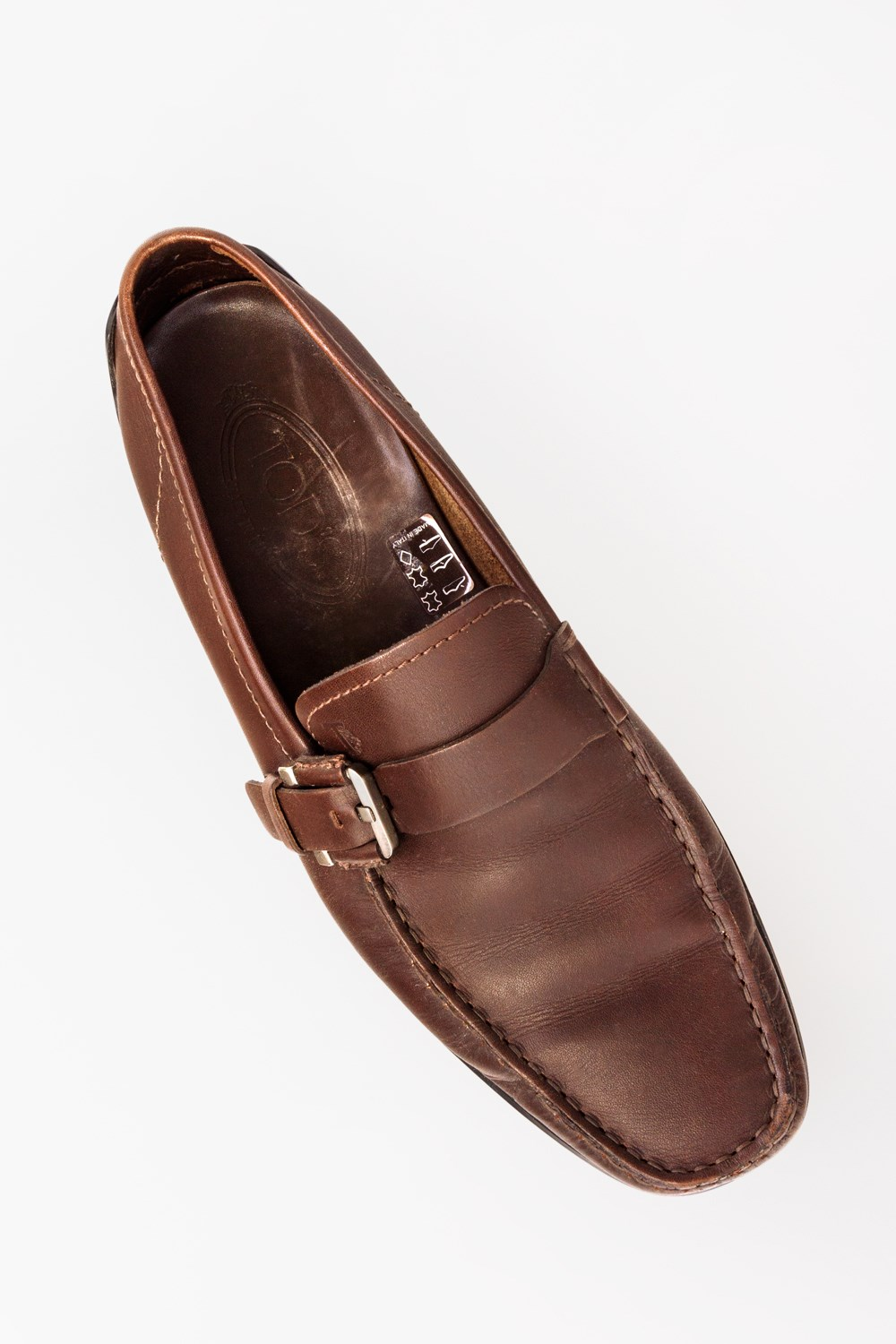 c28890b47a2 Brown Leather Loafers with Buckle Size Fit 40 5 Loafers