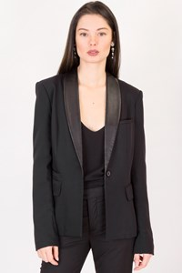 Elizabeth and James Black Blazer with Leather Collar / Size: 2 US - Fit: XS