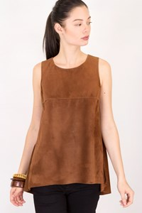 Schatzi Tan Sleeveless Suede Blouse / Size: S - Fit: True to size