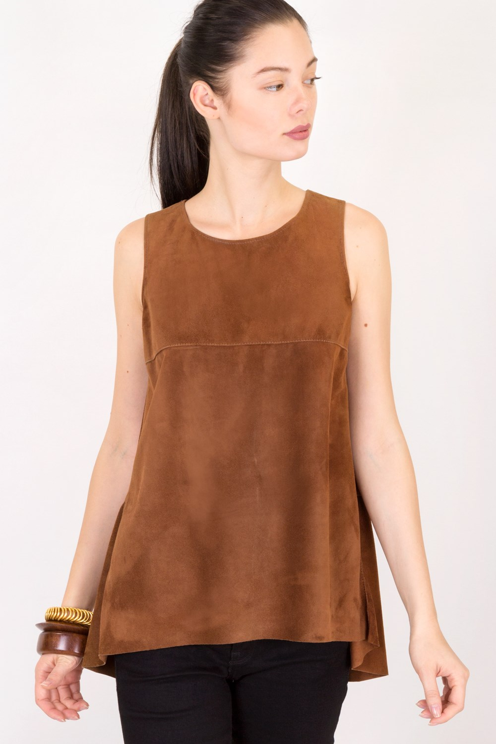 2494aca797d0cb Tan Sleeveless Suede Blouse   Size  S - Fit  True to size ...