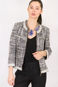 Les Copains Black and White Tweed Round Neck Jacket / Size: 44 IT - Fit: S