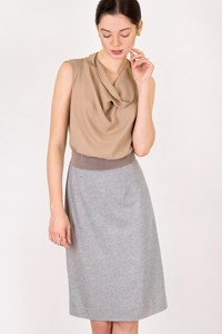 Fabiana Filippi Beige-Grey Sleeveless Dress / Size: 44 IT - Fit: S