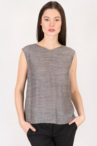 Valentino Miss V Grey Top with Metallic Thread / Size: 46 IT - Fit: S