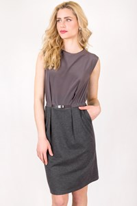 Fabiana Filippi Sleeveless Dress with Belt in Grey Shades / Size: 44 IT - Fit: S