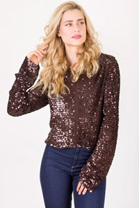 Rocco Barocco Brown Sequin Jacket with Hood / Size: 46 IT - Fit: S / M