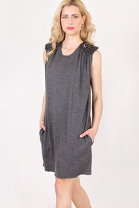 Balmain Grey Sleeveless Dress with Embroidered Shoulders / Size: 38 FR - Fit: S / M