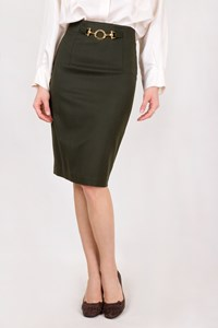 Les Copains Green Pencil Wool Skirt / Size: 42 IT - Fit: S