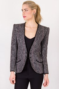 Valentino Boutique Grey Tweed Blazer with Velvet Trim / Size: 8 - Fit: S