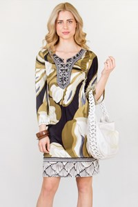 Multicoloured Silk Printed Dress / Size: L- Fit: S / M