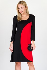 DVF Luna Black-Red Long-Sleeve Dress / Fit: S