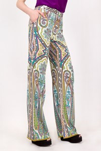 Etro Multicoloured Silk Printed Wide-Leg Pants / Size: 38 - Fit: XS