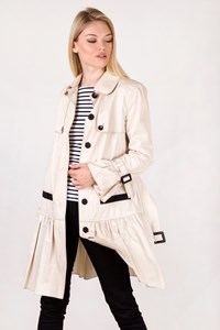 D&G Ecru Cotton Trench Coat with Pleated Trim / Size: 44 IT - Fit: S