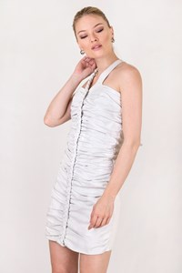 Jitrois Off-White Leather Ruched Mini Dress / Size: 38 IT- Fit: S