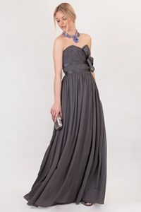Marchesa Notte Dark Grey Silk Ruffled Maxi Dress / Size: 6 US - Fit: XS