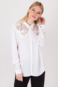 The Kooples White Shirt with Cut-Out Details / Size: M - Fit: S