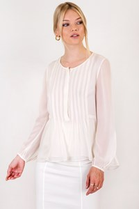 DVF Jayne Off-White Silk Blouse / Size: 6 US - Fit: S