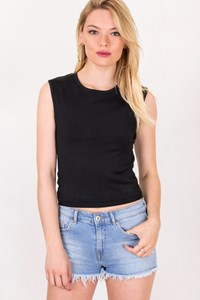 Chanel Black Top with CC Logo / Size: 38 FR - Fit: XS