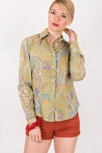 Etro Olive Green Shirt with Multicolour Paisley / Size: 40 IT - Fit: True to size