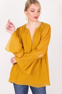 Massimo Dutti Mustard Embossed Blouse / Size: 34 - Fit: S