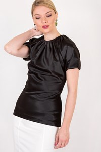 No Brand Black Satin-Like Ruched Neck Top / Size: ? - Fit: XS