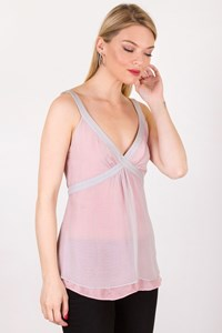 Fendi Grey-Pink Silk Top with Ribbon / Size: 40 IT - Fit: S