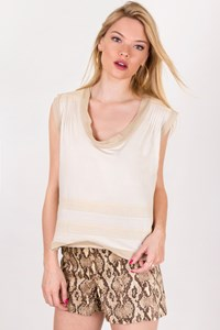 Miu Miu Beige Cotton Top with Different Textures  / Size: XS - Fit: S