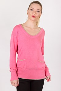 D&G Pink Knitted Blouse with Golden Trim / Size: M - Fit: S