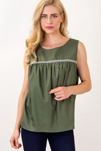 J'aime Les Garcons Olive Green Cotton Top with Striped Details / size: L - Fit: M / L