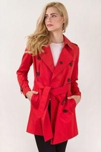 Burberry London Red Middle Length Trench Coat / Size: 8 UK - Fit: S