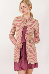 Man Wing Blush Silk Overcoat with Ecru Rips / Size: 40 IT - Fit: S