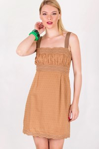 Catherine Malandrino Beige-Tan Embroidered Mini Dress / Size: 6 US - Fit: S