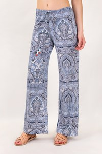 Etro White and Βlue Wide Pants with Paisley Print / Size: M - Fit: L