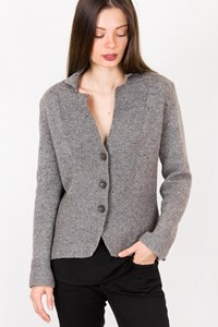 Fabiana Filippi Grey Wool Knitted Cardigan with Collar / Size: 44 IT - Fit: S