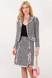 Teri Jon by Rickie Freeman Black and White Tweed Jacket and Skirt Suit / Size: 2 US - Fit: S