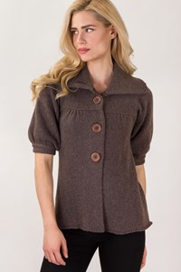 Vince. Taupe Knitted Short Sleeve Cardigan / Size: XS - Fit: S