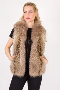 No Brand Beige Rabbit Fur Vest / Size: ? - Fit: S