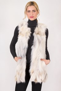 Schatzi Luxury Off-White Fox Fur Vest / Size: S - Fit: True to size