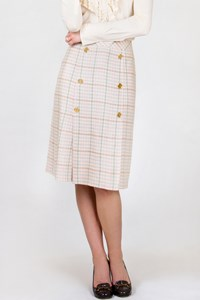 Céline Multicoloured Box-Pleated Skirt / Fit: M