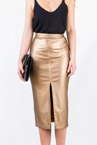 Anna Veneti Bronze Leather Effect Pencil Skirt / Size: ? - Fit: S