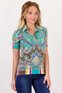 Etro Multicolour Cotton Top with Paisley / Designer size: 44 IT - Fit: M