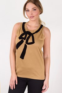 Yves Saint Laurent Beige Tank Top with Velvet Details / Size: L - Fit: M