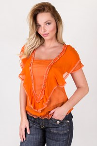 D&G Orange Silk Top with Lace Details / Designer size: 40 IT - Fit: S-M