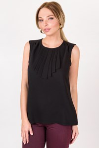 Laura Clement Black Lightweight Top with Plissé Front / Size: 14 UK - Fit: M