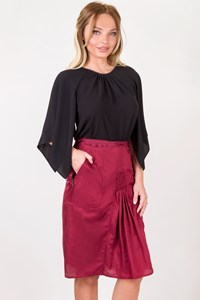 Yves Saint Laurent Burgundy Cotton Skirt with Pockets / Size: 42 FR - Fit: M