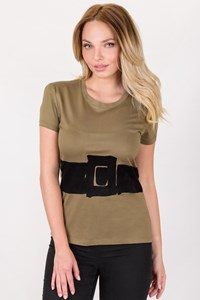 Yves Saint Laurent Olive Green Top with Velvet Details / Size: M - Fit: S